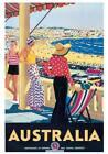 "Vintage Travel Australia Poster CANVAS PRINT Bondi Beach 24"" X 18"""