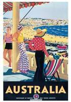 "Vintage Travel Australia Poster A2 CANVAS PRINT Bondi Beach 24"" X 16"""
