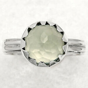 Faceted Prasiolite (Green Amethyst) 925 Sterling Silver Ring s.7.5 Jewelry E970