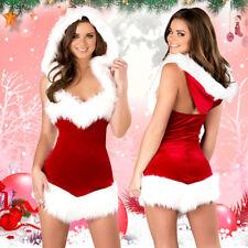 Womens Christmas Sexy Santa Claus Fur V-Neck Costume Xmas Outfit Fancy Dress