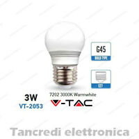 Lampadina led V-TAC 3W = 25W E27 bianco caldo 3000K VT-2053 miniglobo G45 bulbo