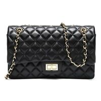 Genuine Sheepskin Quilted Chain Purse Hobo Handbag Black Clearance