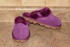 WOMEN'S PLUM SUEDE SOFT COMFY SLIPPERS-SIZE: 7