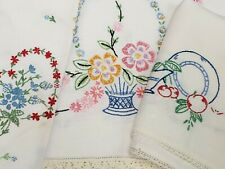6 Vintage 40s Runner Dresser Scarf Crocheted Embroidery Linen Cotton Floral Lot