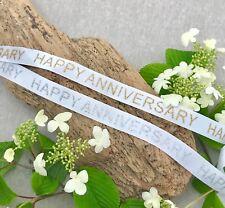 Happy Anniversary Ribbon - White Satin - Gold or Silver Glitter Print - Wedding