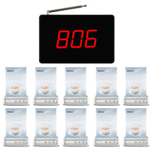 SINGCALL Wireless Calling System 1 Small Fixed Receiver, 10 Buttons for Cafe