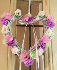 Corona de Wicker Heart Shabby Chic CORONA DE PUERTA CORONA de rosas de seda lila crema rosa verde