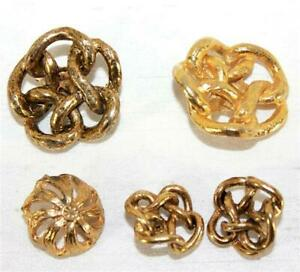 Vintage Goldtone Metal Knot Buttons Lot of 5 Shank Various Sizes Not Marked