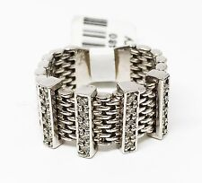 14K White Gold Mesh Design Diamond Ring, 20 Stones, Dia 0.21 CT