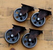 4 Gussräder 75 mm Möbel Lenk-Rollen Metall Retro Vintage Industrial antik Design