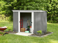 *Metall-Gerätehaus* Pergart Geräteschuppen, Gartenhaus PT 84 grau mit Flachdach,