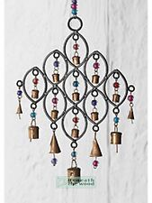 BELLS AND BEADS WIND CHIME - MADE FROM RECYCLED IRON - FENG SHUI - 39 X 23 CM