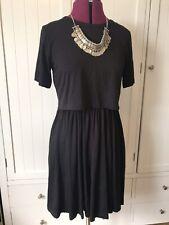 ASOS Black T-Shirt Crop Top Dress Layered 6 8 Skater Skirt Witchy Grunge 90s