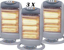 3 x alogeno portatile 1200w ELETTRICO Oscilatting Riscaldatore 3 Bar al quarzo Casa Ufficio