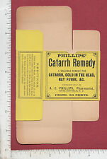 9015 A. E. Phillips Catarrh Remedy 1890 box snuff balm Sinclairville NY medicine