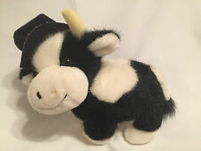 "Russ Black White Cow CLOVER Stuff Plush Moo Top Hat Holly Berrie 9"" Vintage"