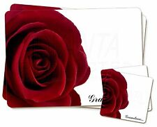 ' rose rouge, ' Mamie 'simple 2x SET DE TABLE + 2x Ensemble de sous-verres