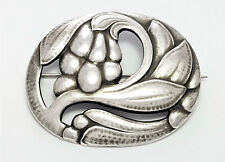 VINTAGE GEORG JENSEN DENMARK STERLING SILVER LEAF & FRUIT PIN BROOCH #65