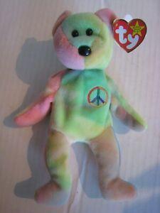 1996 Ty Beanie Baby; Peace Bear with Tie-dye Design; Born Feb. 1, 1996; Tag Bent
