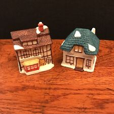 2 Small Ceramic Porcelain English Cottages Matte Finish Maker Unknown