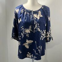 Yumi Kim Silk Blue And Beige 3/4 Sleeve Butterfly Print Blouse Womens Size S