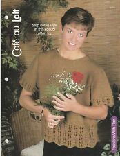 Knitting Pattern ~ Ladies Casual Cafe Au Lait Cotton Top Sweater ~ Instructions