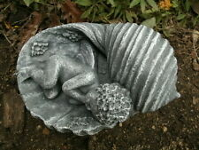 """Cement Statue 6"""" Fairy Sleeping In Shell Garden Art Concrete Antiqued Finish"""
