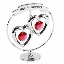 Crystocraft 40TH Ruby Wedding Anniversary KEEPSAKE Ornament-Swarvoski Crystals