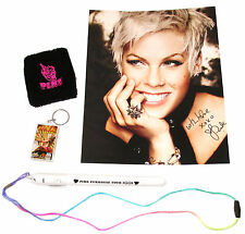 PINK P!NK - 4-PIECE FUNHOUSE GIFT SET: PHOTO WRISTBAND KEYCHAIN WAND - NEW