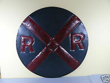 Tenderheart Treasures Metal sign RAILROAD CROSSING Dark Blue with red cross NEW