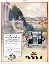 """""""MOBILOIL"""" Annonce originale entoilée L'ILLUSTRATION années 20  32x41cm"""