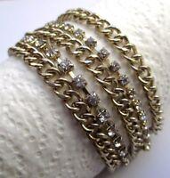 bracelet bijou rétro 5 rangs maille gourmette couleur or cristaux diamant 2421
