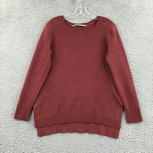 Athleta Sweater M Medium Pullover Long sleeve Burnt Red Knit Side Slits Womens