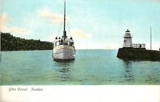 Early Postcard; Göta Canal, Sweden showing Lighthouse & Sailboat, unposted