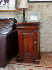 La Roque Premium Solid Mahogany Dark Wood Lamp Table with Cupboard and Drawer