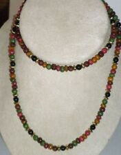 Vintage Small Bead Multi-colored Plastic Necklace 30""