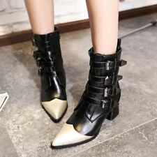 Women Pointed Toe Zip Block Med Heels Splice Mid Calf Boots Chunky Roman Shoes
