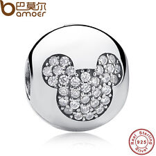Authentic S925 Sterling Silver Ball Charm Pave Clip Fit Bracelets Black Friday