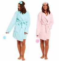 3 PCs Womens Ladies Fleece Bathrobe Short Dressing Gown Nightwear Bath Robe New