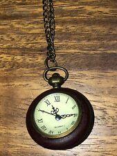 Lovesick Brand Brown Wood / Glass Clock Fashion Necklace Brass Look Chain 30""