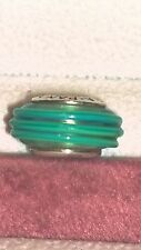 GENUINE PANDORA Sterling Silver 925ALE Aqua Green Ribbon Murano Bead 790606