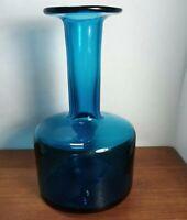 "Hand Blown Blenko ??? mid century modern Asure Blue Glass Vase 7"""