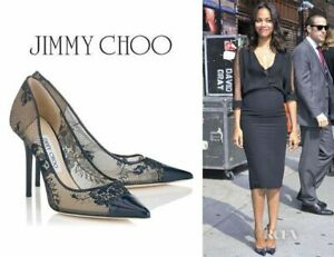 Jimmy Choo Black Lace and Patent Amika Cap Toe Pointed Pumps Size 40 uk 7