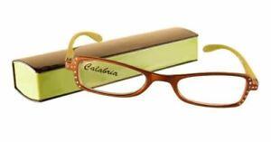 Calabria 837 2-Tone Designer Reading Glasses w/ Hard Case 80 Color&Power Options