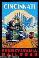 "Pennsylvania Railroad  Poster Cincinnati Art Deco PRR 8""x11""  1930-40 photo"