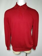 Lorano Italy 2XL XXL Red Polo Golf Long-Sleeve Casual Sweater Shirt