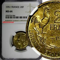 FRANCE Aluminum-Bronze 1951 20 Francs NGC MS64 KM# 917.1
