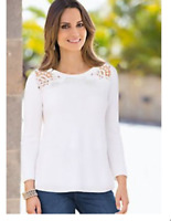 White Lace Detail Knitted A Line Tunic Style Cotton Jumper