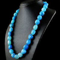 Genuine 635.50 Cts Earth Mined Blue Onyx Untreated Beads Single Strand Necklace