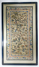Antique Chinese Framed Forbidden Stitch Silk Embroidery Robe Panel Embroidered